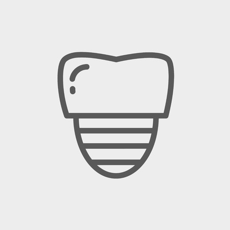 titanium: Tooth implant icon thin line for web and mobile, modern minimalistic flat design. Vector dark grey icon on light grey background. Illustration