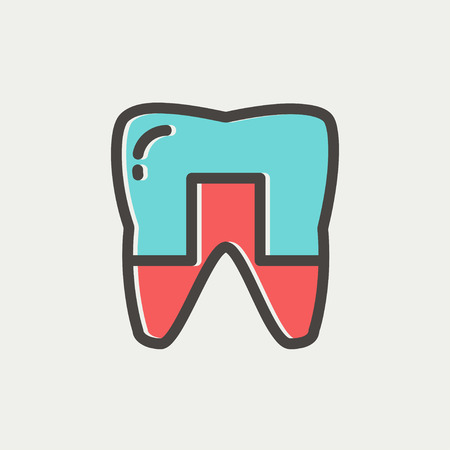 crowned: Crowned tooth icon thin line for web and mobile, modern minimalistic flat design. Vector icon with dark grey outline and offset colour on light grey background. Illustration