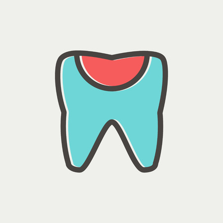 chipped: Broken tooth icon thin line for web and mobile, modern minimalistic flat design. Vector icon with dark grey outline and offset colour on light grey background.