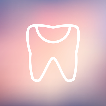 chipped: Broken tooth icon thin line for web and mobile, modern minimalistic flat design. Vector white icon on gradient mesh background.