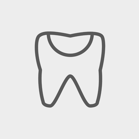 chipped: Broken tooth icon thin line for web and mobile, modern minimalistic flat design. Vector dark grey icon on light grey background. Illustration