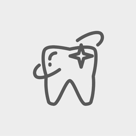 Web とモバイルでモダンなミニマルなフラットなデザインのため歯アイコン細い線を輝いています。ベクトルにライトグレーの背景の暗い灰色のアイ