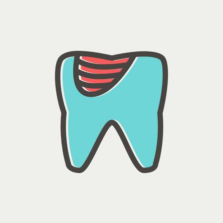 diente caries: Diente icono de la decadencia de l�nea delgada para web y m�vil, dise�o plano minimalista moderno. Vector icono con el esquema de color gris oscuro y el color offset sobre fondo gris claro. Vectores