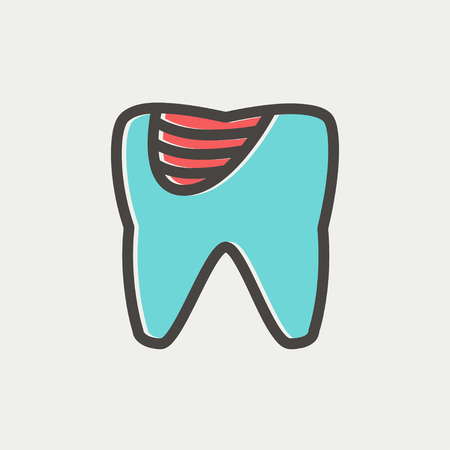 dirty teeth: Tooth decay icon thin line for web and mobile, modern minimalistic flat design. Vector icon with dark grey outline and offset colour on light grey background.
