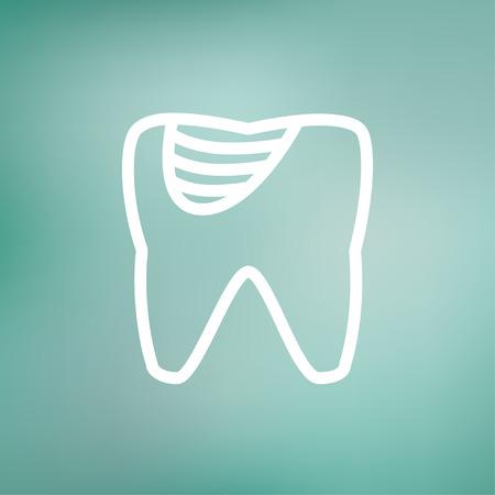 diente caries: Diente icono de la decadencia de l�nea delgada para web y m�vil, dise�o plano minimalista moderno. Vector icono blanco sobre fondo de malla de degradado.