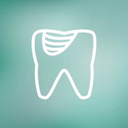 dirty teeth: Tooth decay icon thin line for web and mobile, modern minimalistic flat design. Vector white icon on gradient mesh background.