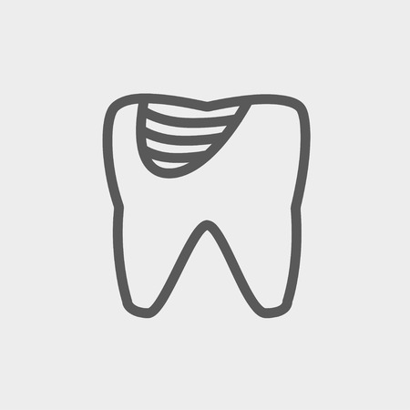 dirty teeth: Tooth decay icon thin line for web and mobile, modern minimalistic flat design. Vector dark grey icon on light grey background.