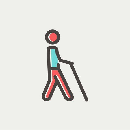 Man with stick icon thin line for web and mobile, modern minimalistic flat design. Vector icon with dark grey outline and offset colour on light grey background. Vector