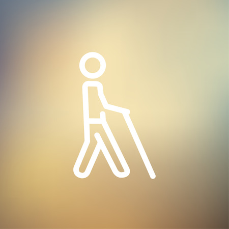 Man with stick icon thin line for web and mobile, modern minimalistic flat design. Vector white icon on gradient mesh background.