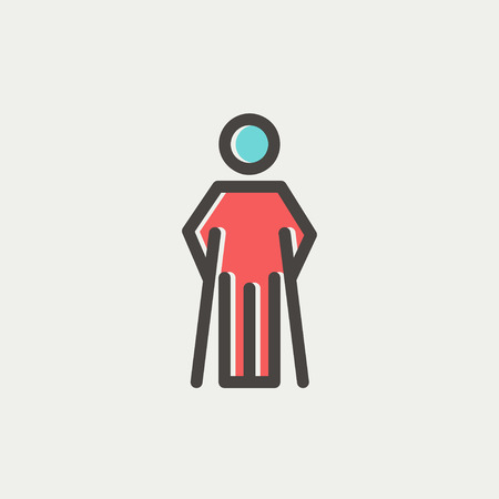forearm: Injured man with crutches icon thin line for web and mobile, modern minimalistic flat design. Vector icon with dark grey outline and offset colour on light grey background. Illustration