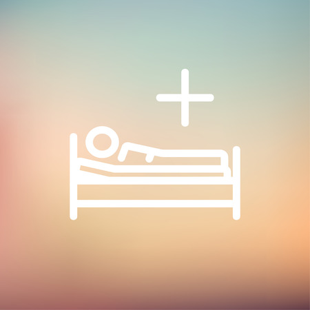 sickbed: Medical bed with patient icon thin line for web and mobile, modern minimalistic flat design. Vector white icon on gradient mesh background.
