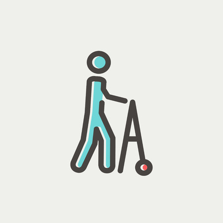 mobility nursing: Disabled person with walker icon thin line for web and mobile, modern minimalistic flat design. Vector icon with dark grey outline and offset colour on light grey background. Illustration
