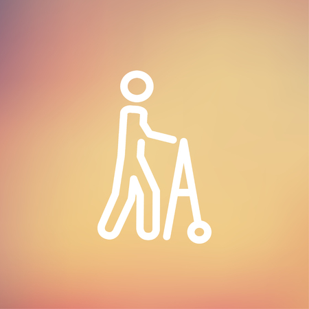 infirm: Disabled person with walker icon thin line for web and mobile, modern minimalistic flat design. Vector white icon on gradient mesh background.