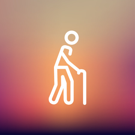 bariatric: Man with Cane icon thin line for web and mobile, modern minimalistic flat design. Vector white icon on gradient mesh background.