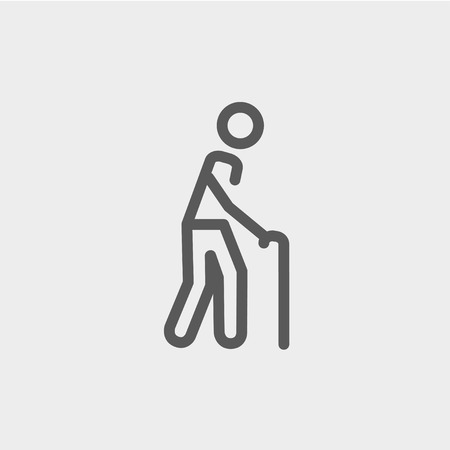 bariatric: Man with Cane icon thin line for web and mobile, modern minimalistic flat design. Vector dark grey icon on light grey background.