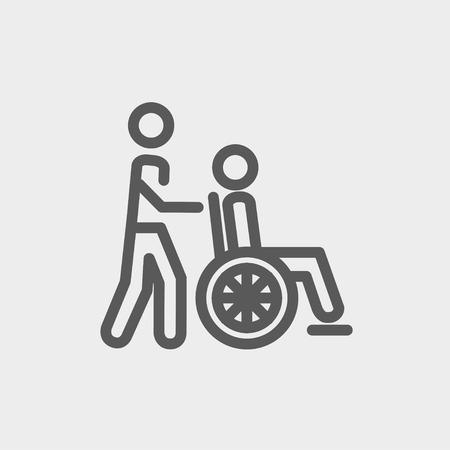 haushaltshilfe: Krankenpflege-Ikone nehmen dünne Linie für Web- und Mobile, modern minimalistisch flache Bauweise. Vector dunkelgrau-Symbol auf hellgrauem Hintergrund. Illustration