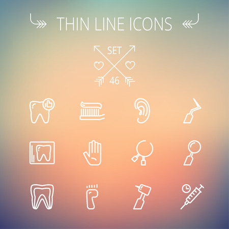 dental implants: Medicine thin line icon set for web and mobile. Set includes- tooth,toothbrush, dental tools, foot, hand, syringe icons. Modern minimalistic flat design. Vector white icon on gradient mesh background.
