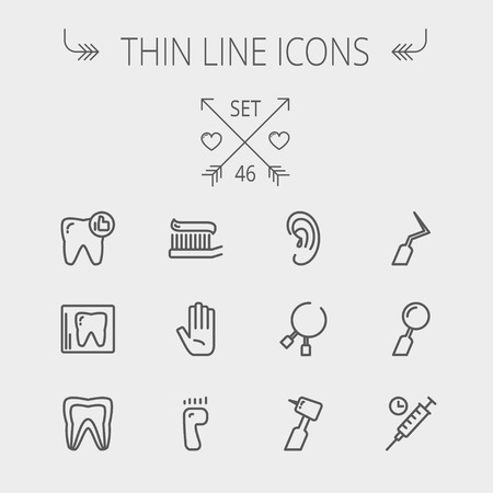 Medicine thin line icon set for web and mobile. Set includes- tooth, toothbrush, dental tools, foot, hand, syringe icons. Modern minimalistic flat design. Vector dark grey icon on light grey background.