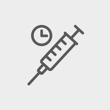 intramuscular: Syringe icon thin line for web and mobile, modern minimalistic flat design. Vector dark grey icon on light grey background.