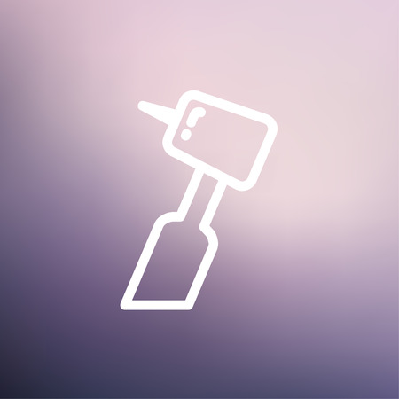 Dental drill icon thin line for web and mobile, modern minimalistic flat design. Vector white icon on gradient mesh background. Ilustração