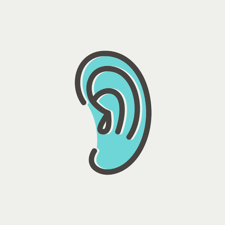 Human ear icon thin line for web and mobile, modern minimalistic flat design. Vector icon with dark grey outline and offset colour on light grey background.  イラスト・ベクター素材