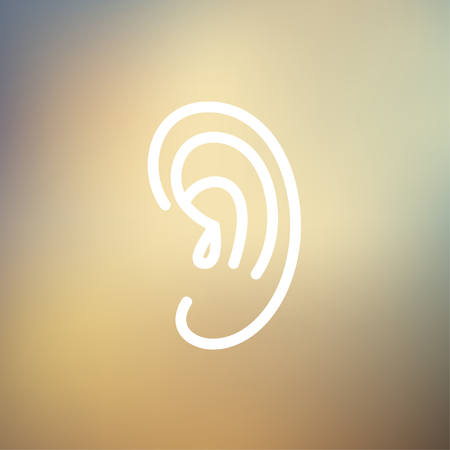 Human ear icon thin line for web and mobile, modern minimalistic flat design. Vector white icon on gradient mesh background.  イラスト・ベクター素材