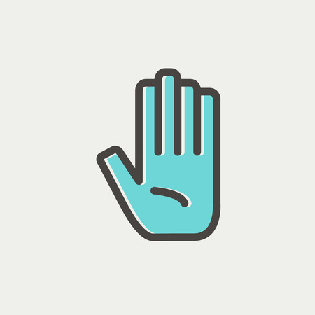 hands silhouette: Hand icon thin line for web and mobile, modern minimalistic flat design. Vector icon with dark grey outline and offset colour on light grey background.