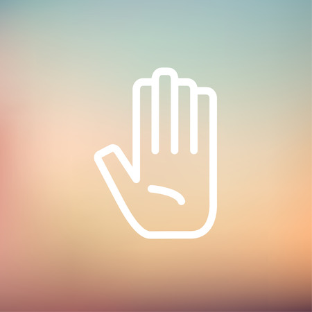 raise the thumb: Hand icon thin line for web and mobile, modern minimalistic flat design. Vector white icon on gradient mesh background.