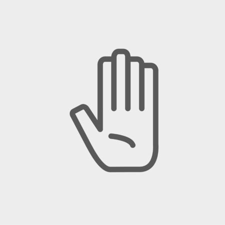 Hand icon thin line for web and mobile, modern minimalistic flat design. Vector dark grey icon on light grey background.