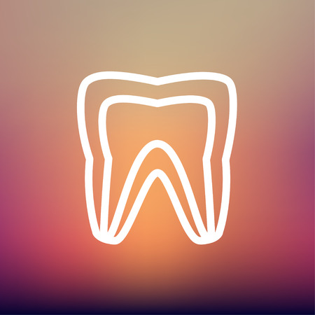 carious cavity: Molar tooth icon thin line for web and mobile, modern minimalistic flat design. Vector white icon on gradient mesh background.