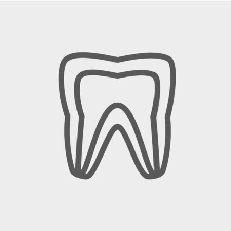 Molar tooth icon thin line for web and mobile, modern minimalistic flat design. Vector dark grey icon on light grey background. Çizim