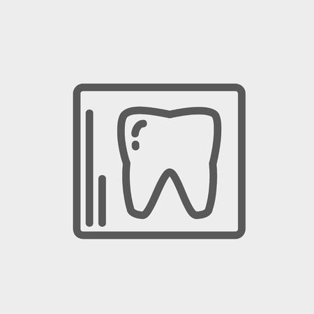 x ray equipment: Tooth protected by a glass icon thin line for web and mobile, modern minimalistic flat design. Vector dark grey icon on light grey background.