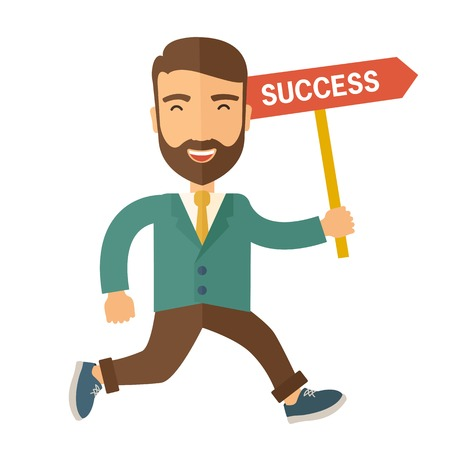 carreer: A happy hipster businessman smiling while jumping for his succeess. Business growth concept. A Contemporary style. Vector flat design illustration isolated white background. Square layout.