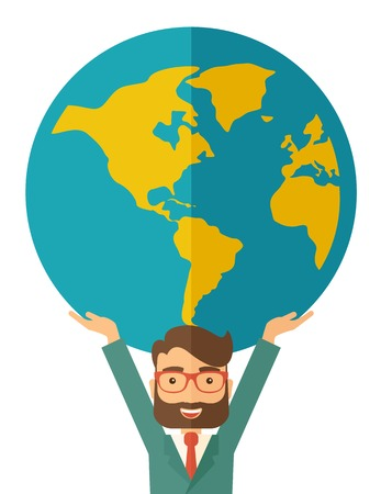 businessman carrying a globe: A businessman carrying big globe it is a symbol that he is number one in the world in business society. A Contemporary style. Vector flat design illustration isolated white background. Vertical layout. Illustration