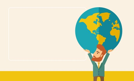 businessman carrying a globe: A businessman carrying big globe it is a symbol that he is number one in the world in business society. A Contemporary style with pastel palette, soft beige tinted background. Vector flat design illustration. Horizontal layout with text space in left side Illustration