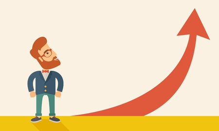 going up: A hipster businessman standing beside the red arrow pointing up. Successful business concept. A Contemporary style with pastel palette, soft beige tinted background. Horizontal layout with text space on upper left side