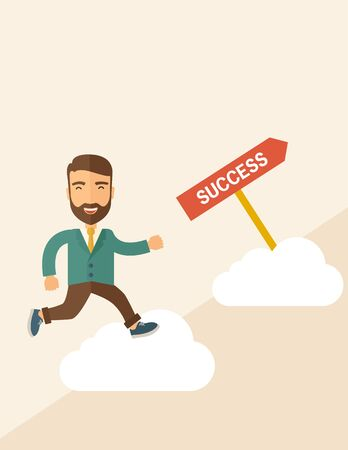 carreer: A happy hipster businessman smiling while jumping for his succeess. Business growth concept. A Contemporary style with pastel palette, soft beige tinted background. Vector flat design illustration. Vertical layout with text space on top part