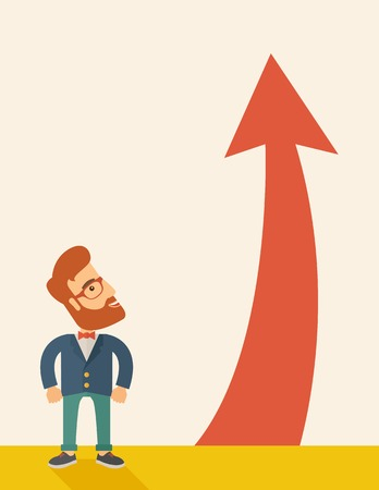 A hipster businessman standing beside the red arrow pointing up. Successful business concept. A Contemporary style with pastel palette, soft beige tinted background. Vector flat design illustration. Vertical layout wqith text space in left side Vector