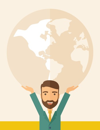 businessman carrying a globe: A businessman carrying big globe it is a symbol that he is number one in the world in business society.  A Contemporary style with pastel palette, soft beige tinted background. Vector flat design illustration. Vertical layout.