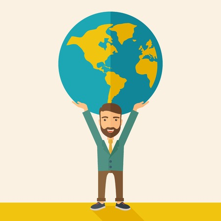 businessman carrying a globe: A businessman carrying big globe it is a symbol that he is number one in the world in business society. A Contemporary style with pastel palette, soft beige tinted background. Vector flat design illustration. Square layout. Illustration