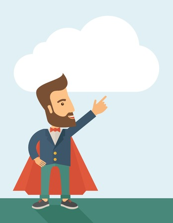 commercial activity: Superhero man pointing upward aiming higher sales in business. Business growth. A Contemporary style with pastel palette, soft blue tinted background. Vector flat design illustration. Vertical layout with text space on top part.