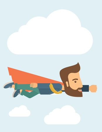 liderazgo: Un super hombre de negocios volando alto para lograr su objetivo. Concepto de la direcci�n. Un estilo contempor�neo con la paleta de colores pastel, fondo te�ido azul suave con nubes disaturados. Vector dise�o plano ilustraci�n. Dise�o vertical con sapce de texto en la parte superior.