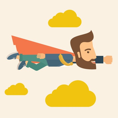 A super businessman flying high to achieve his goal. Leadership concept. A Contemporary style with pastel palette, soft beige tinted background and yellow clouds. Vector flat design illustration. Square layout.