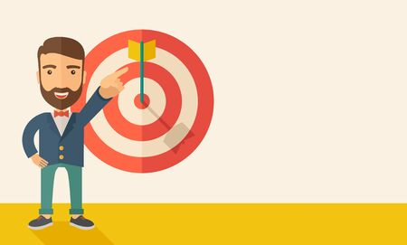 vector arrow: A Caucasian salesman happy standing while his hand pointing to the arrow from target pad shows that he hit his target sales. Business concept. A Contemporary style with pastel palette, soft beige tinted background. Vector flat design illustration.   Horiz