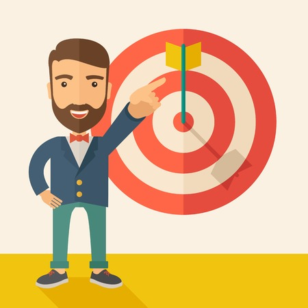 customer focus: A Caucasian salesman happy standing while his hand pointing to the arrow from target pad shows that he hit his target sales. Business concept. A Contemporary style with pastel palette, soft beige tinted background. Vector flat design illustration. Square