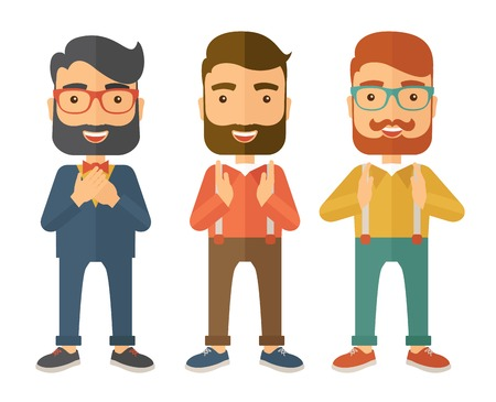 handsome: A three young handsome businessmen with different color of hair. Successfully reach their target in marketing. A contemporary style. Vector flat design illustration with isolated white background. Square layout.