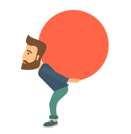 buisnessman: A buisnessman sacrifice in carrying a big ball going up to reach the goal concept. . A Contemporary style. Vector flat design illustration isolated white background. Square layout.