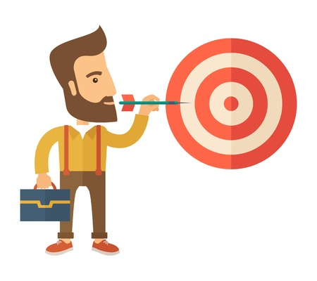 price development: A working hipster man with strategy on how to get his target market sales higher. Market strategy concept. A Contemporary style. Vector flat design illustration isolated white background. Square layout.