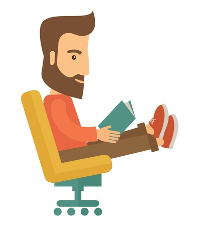 A man sit down with a book in his hand reading for business market strategy. A Contemporary style. Vector flat design illustration isolated white background. Square layout. Иллюстрация