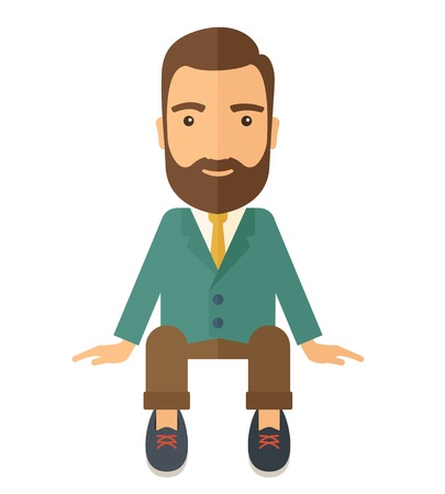 A happy businessman smiling while sitting for his business success. Business concept. A Contemporary style. Vector flat design illustration isolated white background. Square layout. Illustration